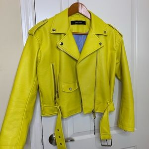 Zara Yellow Biker Jacket